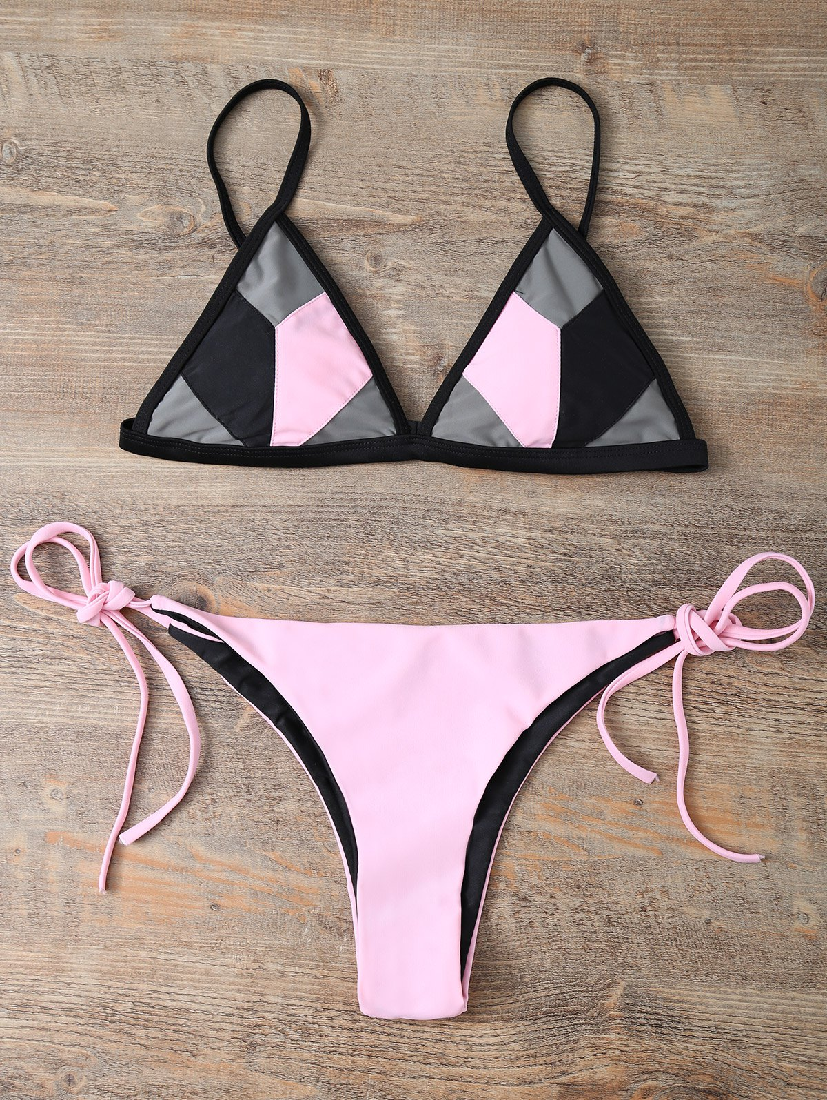 String Color Block Bikini Set