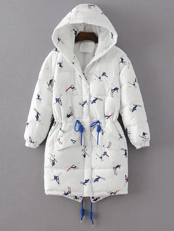 Hooded Drawstring Cartoon Print Padded Coat