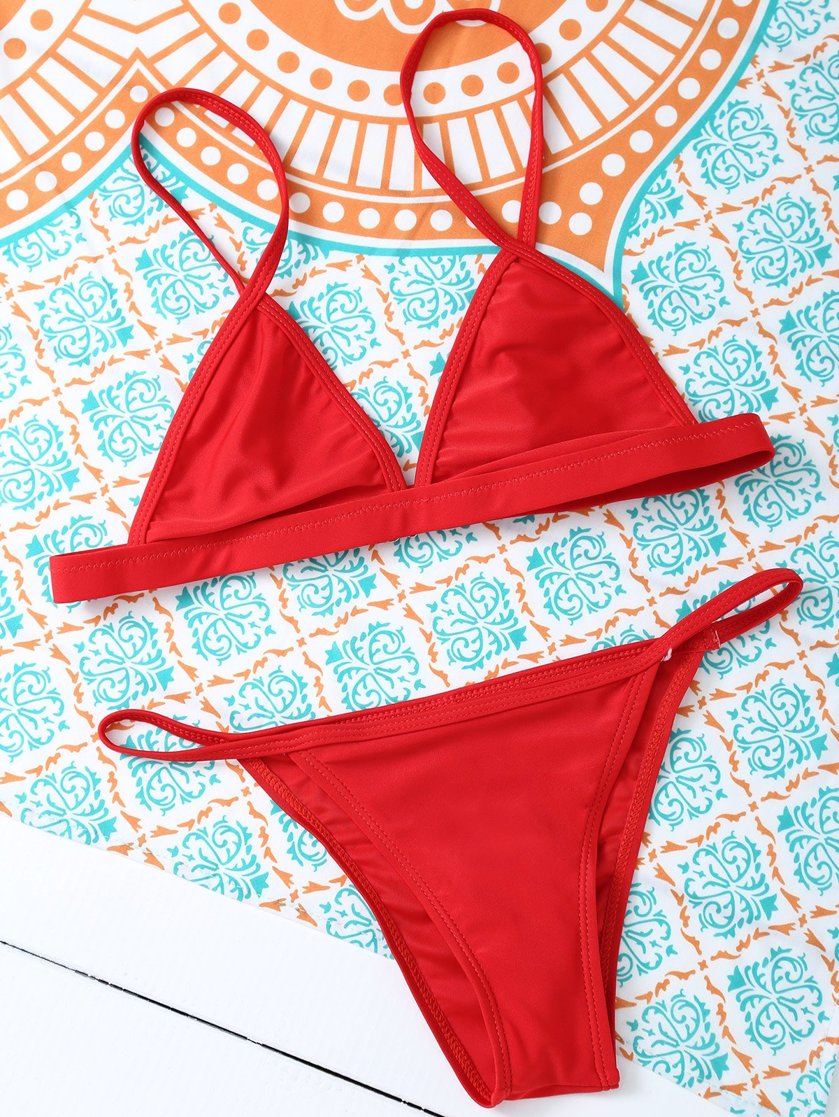 Spaghetti Straps Unlined Bikini Set