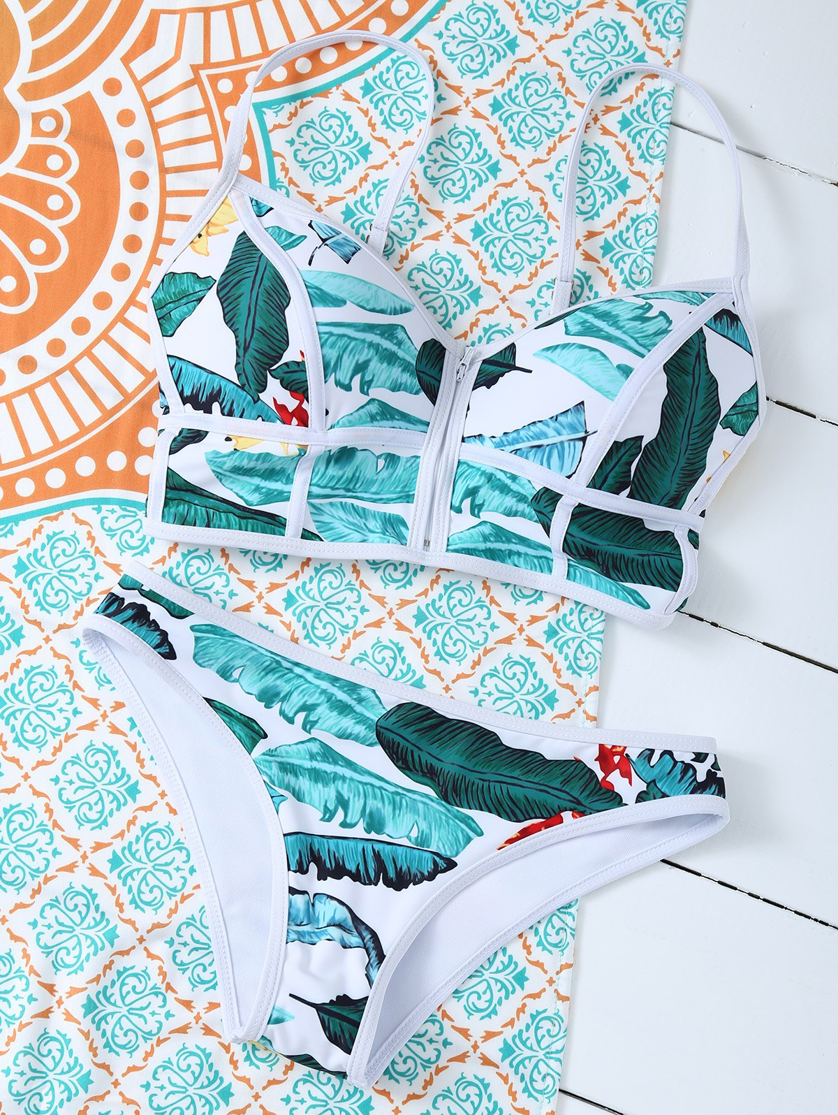 Zippered Tropical Bikini Set