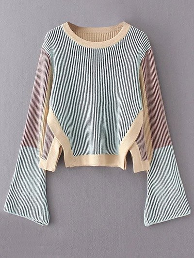 Side Slit Striped Sweater