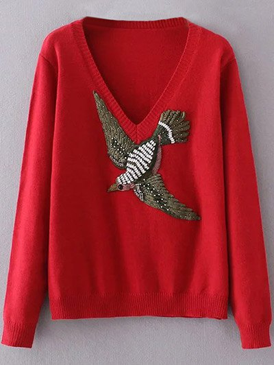 V Neck Embroidered Sweater