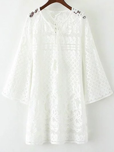 V Neck Bell Sleeve Lace Hollow Out Dress