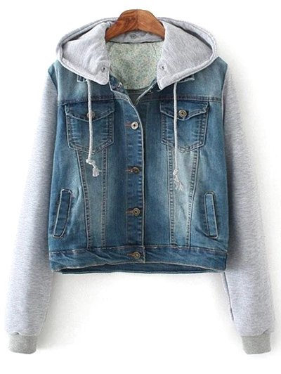 Hooded Bleach Wash Denim Panel Jacket