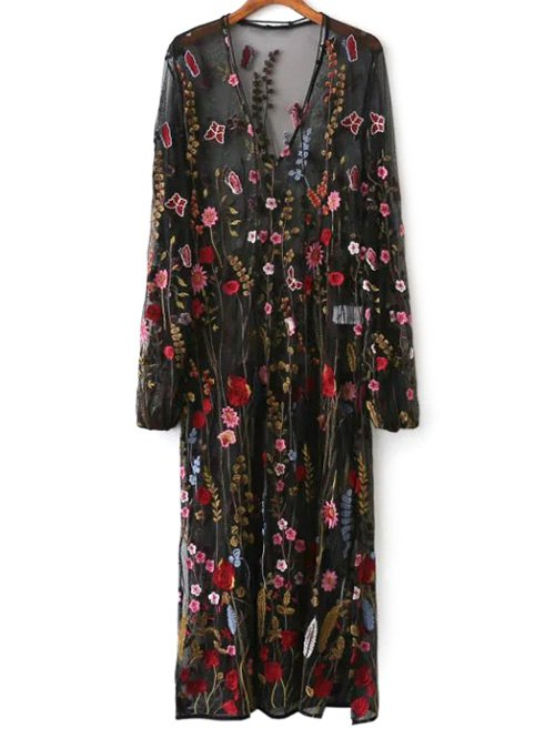 V Neck Mesh Floral Embroidered Sheer Dress