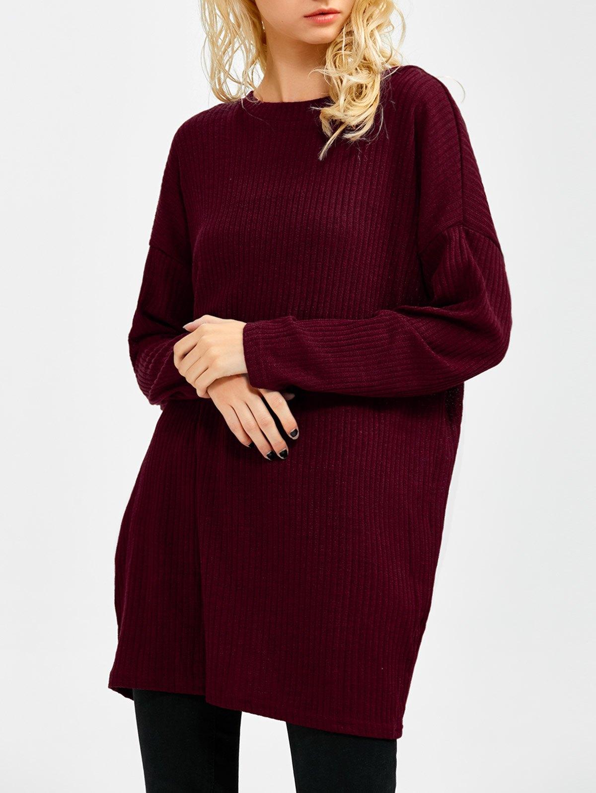Skew Neck Long Sleeve Jumper - WINE RED L
