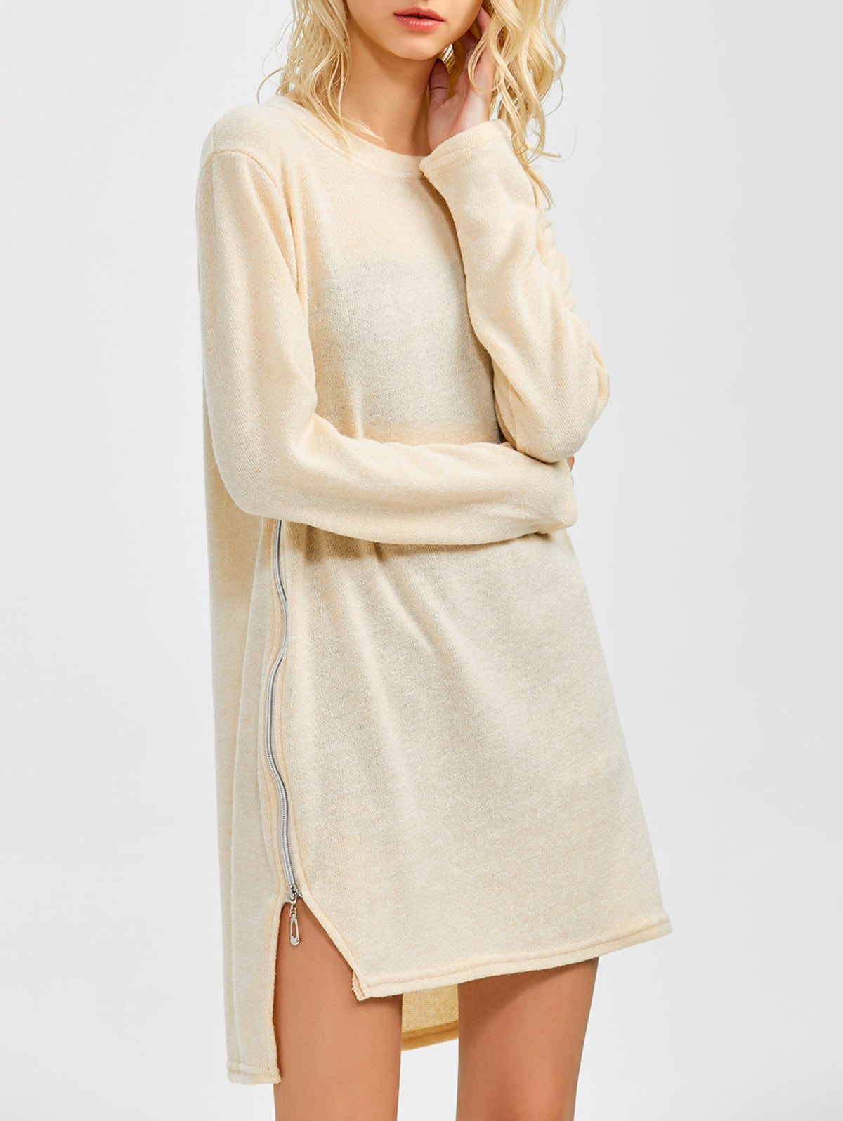 Side Zipper Sweater Dress - BEIGE S