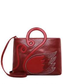 Wing Pattern Textured Leather Stitching Tote Bag - Deep Red