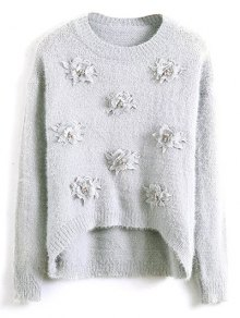 Floral Applique Fluffy Sweater - Gray