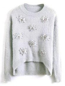 Floral apliques suéter mullido