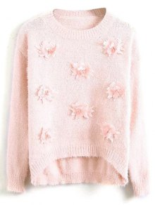 Floral Applique Fluffy Sweater