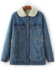 Lamb Wool Embroidered Denim Coat - Blue S