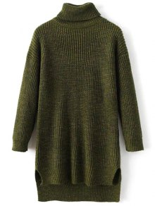 High Low Turtle Neck Heathered Jumper