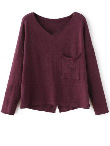 Slit V Neck Sweater