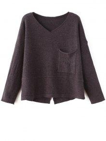 Slit V Neck Sweater - Coffee