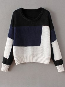 Crew Neck Color Block Chunky Sweater