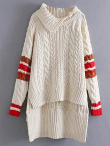 Contrast Trim Cable Knit Sweater
