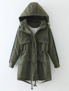 Drawstring Zip-Up Hooded Puffer Coat