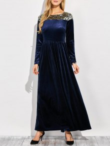Sequined Velvet Long Swing Dress With Sleeves - Blue S