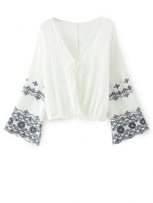 Embroidered Loose Surplice Blouse