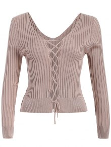 Ribbed Deep V Neck Jumper
