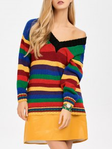 Long Striped V Neck Sweater