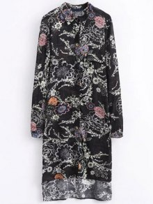 High Low Retro Floral Shirt Dress