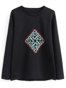 Geometric Embroidered Sweatshirt - Black M