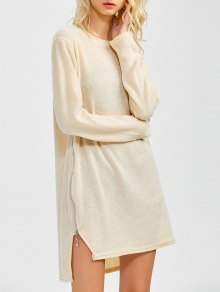 Side Zipper Sweater Dress - Beige