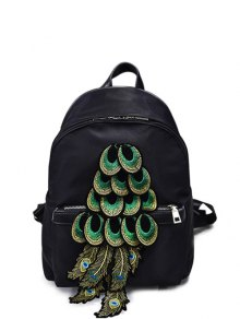 Peacock Feather Appliques Backpack - Black