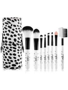 8 Pcs Daily Kit Vache Imprimer Maquillage Pinceaux - Blanc