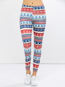 Stretchy Christmas Ornate Print Leggings - L