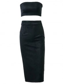 Suede Bodycon Skirt With Tube Top - Black L