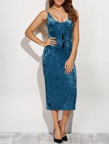 Back Slit Velvet Cami Pencil Dress - Blue