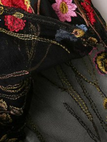 Mesh Floral Embroidered Sheer Dress - BLACK S