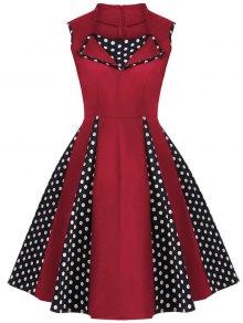 Robe Vintage En Polka Dot Sans Manches  Au Genou  - Rouge 4xl