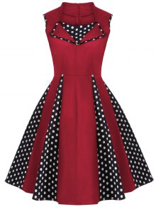 Vintage Sleeveless Polka Dot Dress - Red Xl
