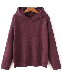 Long Sleeve Hoodie Sweater - Purplish Red