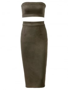 Suede Bodycon Skirt With Tube Top - Army Green