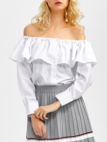 Buy Frilled Shoulder Blouse - WHITE M