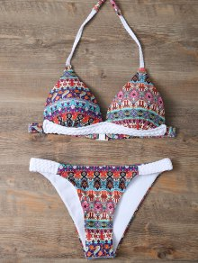 Halter Ethnic Printed Bikini Set - Red