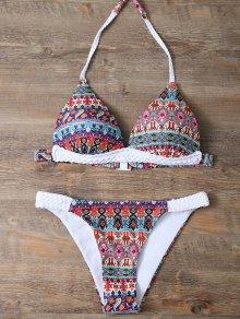 Halter Ethnic Printed Bikini Set
