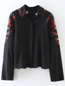 Cropped Flower Embroidered Shirt - Black L
