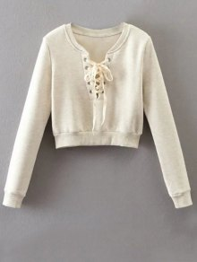 Lace Up Cropped Pullover Sweatshirt - Off-white S