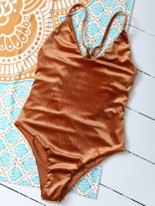 Reversible Cross Back Pleuche Swimwear - Orange