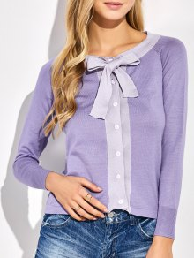 Bowknot Button Up Cardigan - Purple
