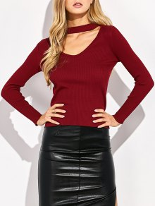 Choker Ribbed Knitwear - Wine Red L