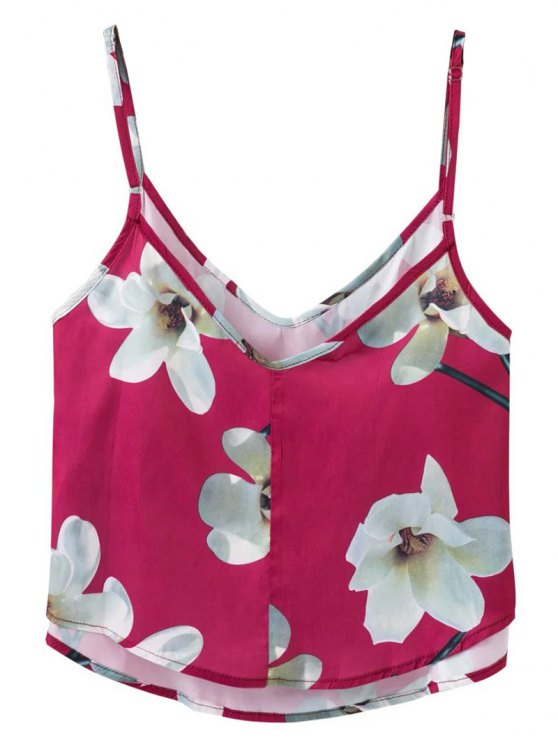 Adjusted Floral Satin Camisole - RED S Mobile