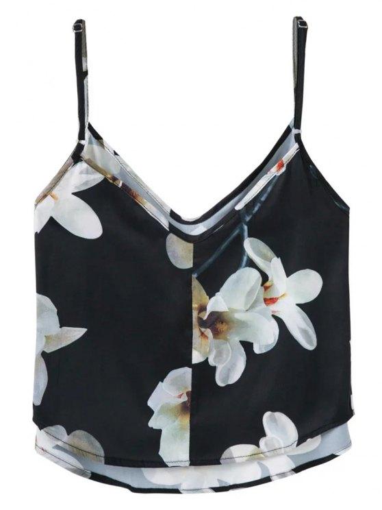 Adjusted Floral Satin Camisole - BLACK L Mobile