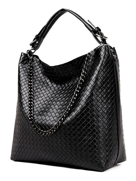 Argyle Double Buckle Chain Tote Bag -   Mobile
